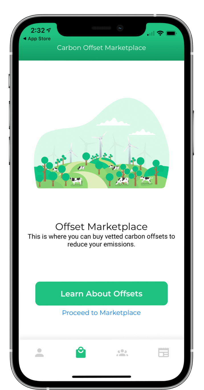Carbon Down's Existing App Screen