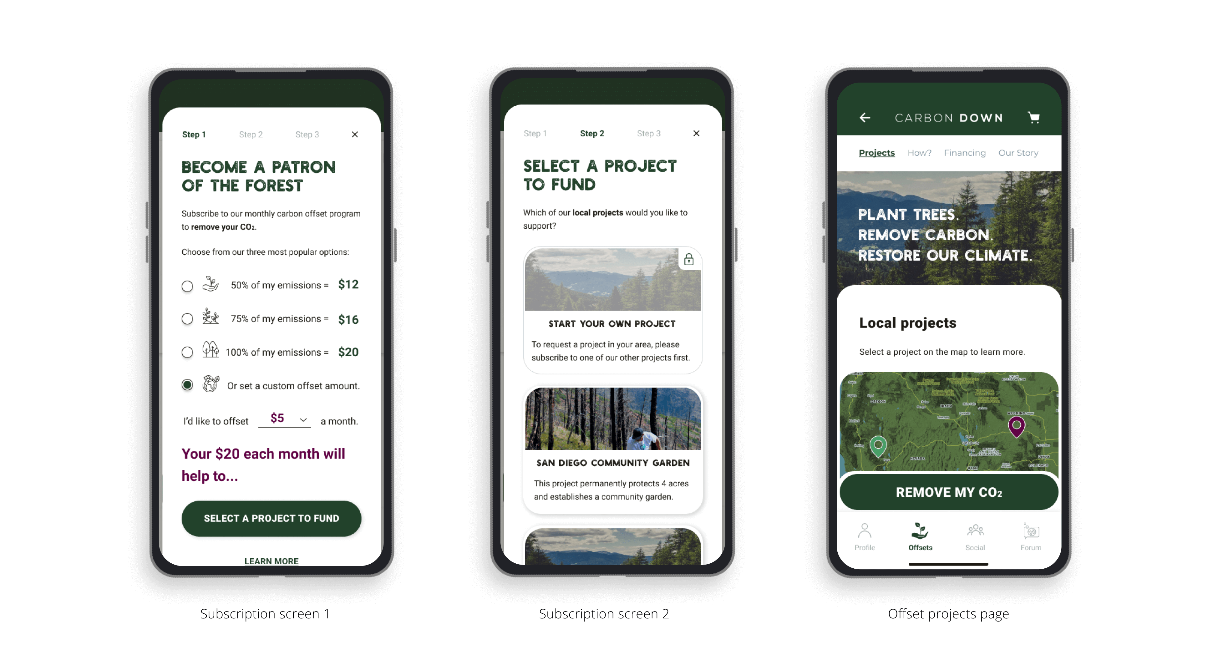 Subscription Screens for Carbon Down