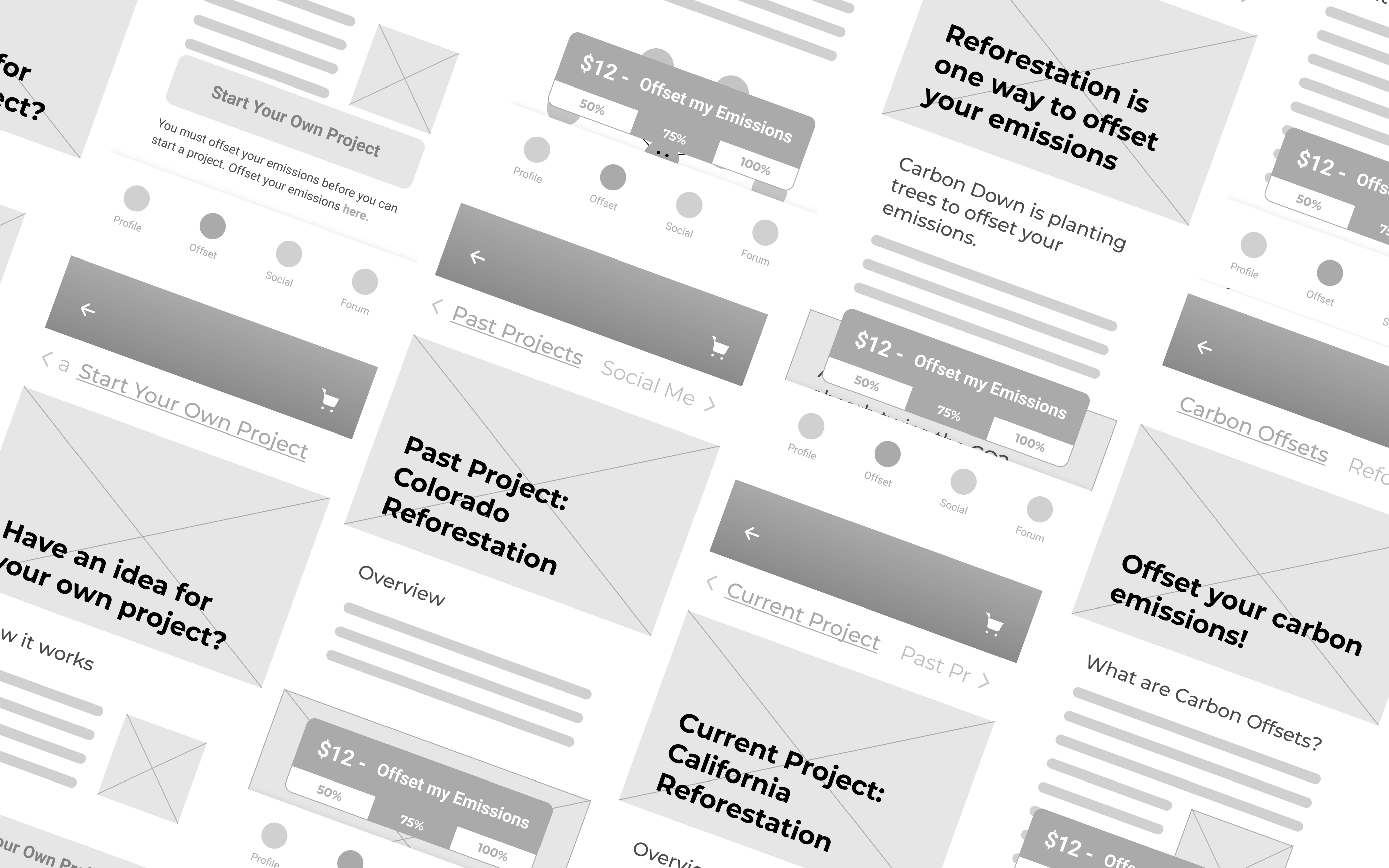 Carbon Down Wireframes