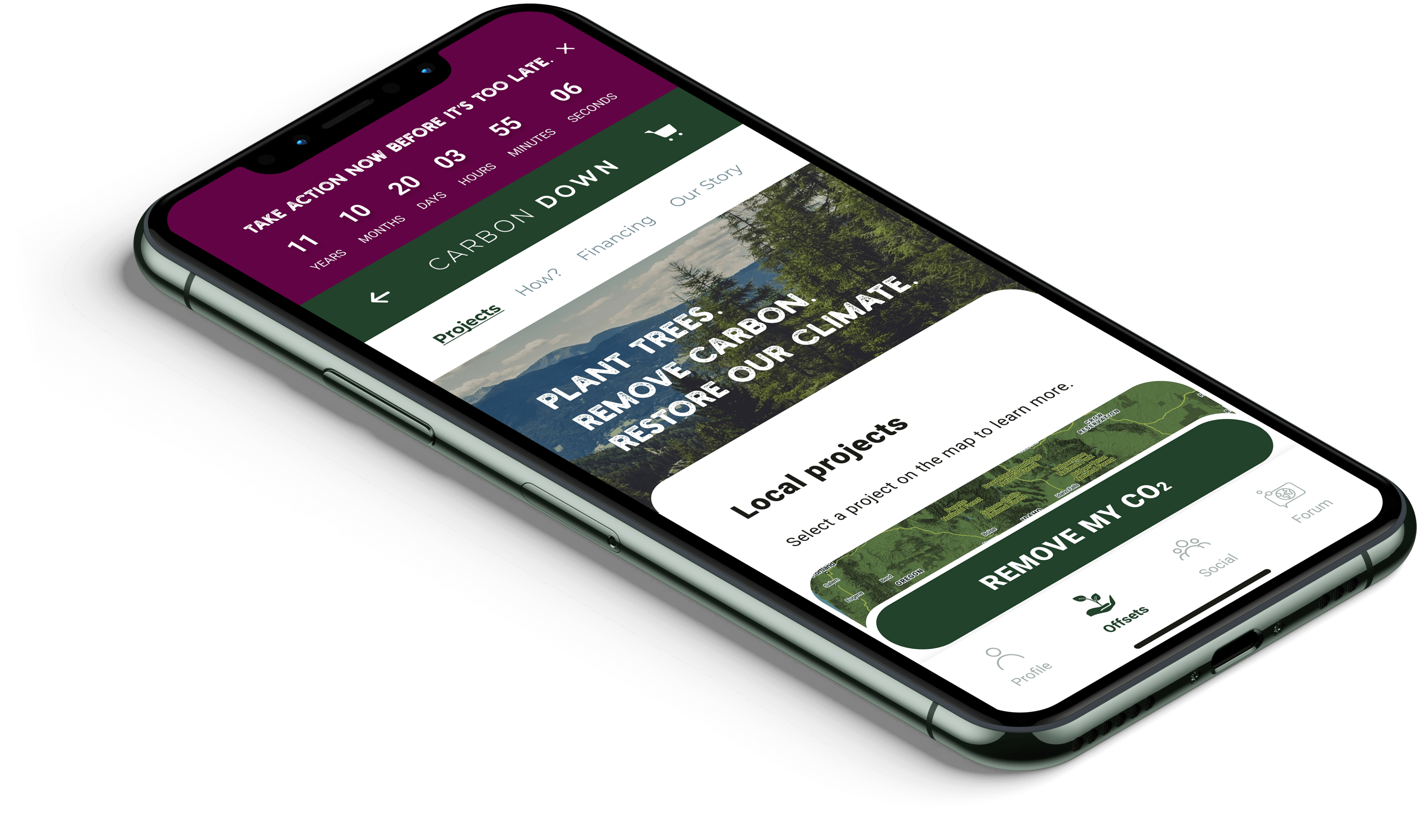 Carbon offset marketplace with countdown timer